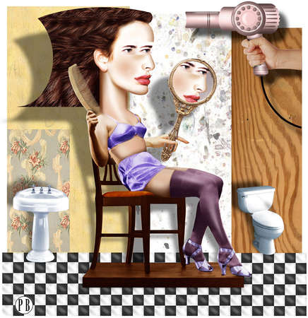 Woman wearing lingerie and seated in bathroom, holding mirror and combing hair as another hand aims blowdryer toward her head