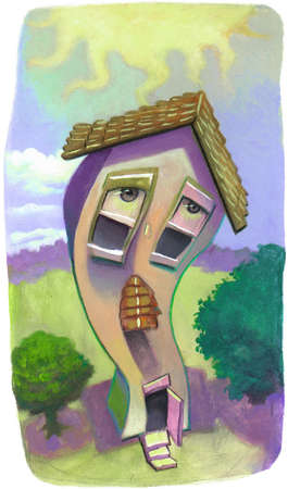 Illustration of a droopy house sweltering under the sun