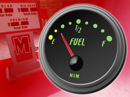 Gas gauge pointing to empty superimposed over image of a gas pump