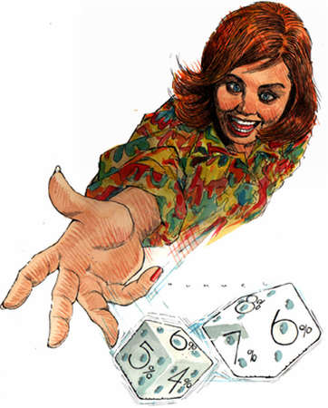 Wild-eyed woman rolling dice marked with bonds' percentage interest rates