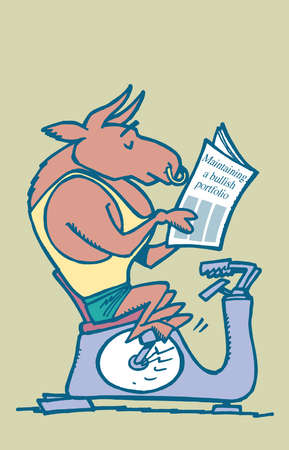 Wall Street bull riding an exercise machine while reading a newspaper headlined 'Maintaining a bullish portfolio'