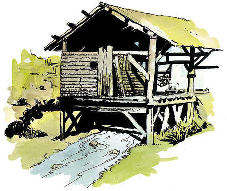 Sutter's mill, where gold was discovered in California in 1848 setting of gold rush