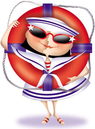 Smiling girl dressed in sunglasses, sailor dress and hat posing with a ship's life preserver