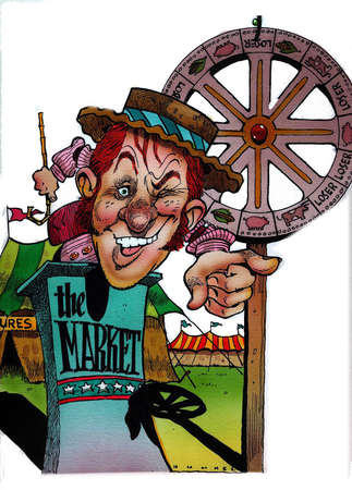 """Circus barker standing behind podium labeled """"The Market"""" and spinning a wheel of fortune"""