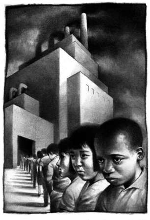 Sullen-faced children in long line leading into smoke-belching factory