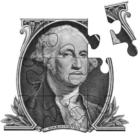 Dollar bill image of George Washington as a puzzle with a piece out
