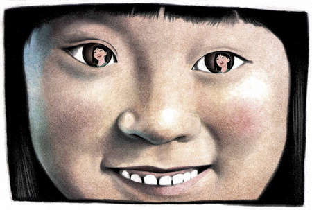 Young girl's face with her eyes reflecting image of Disney character Mulan
