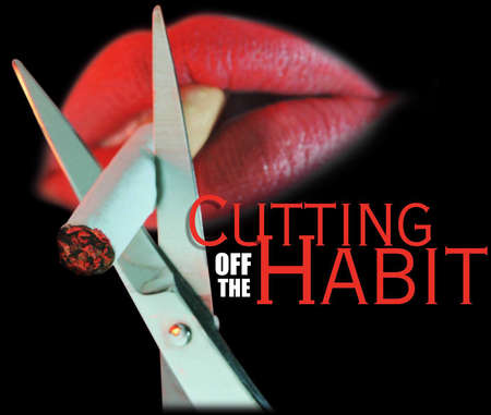 Scissors cutting cigarette being held between lips