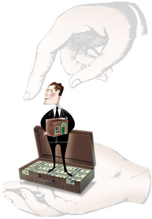 Businessman holding a small store and standing in a suitcase full of money labeled 'small business'