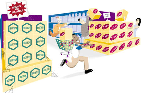 Shoppers frantically rushing to buy boxes of an unknown Internet stock initial purchase offering while boxes of biotech stock linger with cobwebs at reduced prices