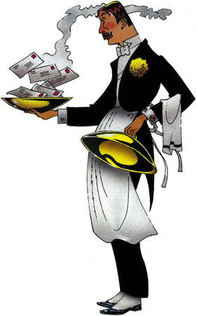 Waiter or maitre'd opening a dish to reveal a steaming pile of letters