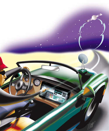Guy adjusting digital car radio and driving convertible while satellite dish attached to hood receives transmissions from space