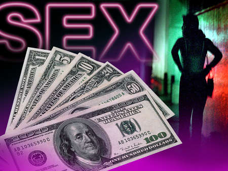 U.S. currency superimposed over word 'Sex' and silhouette of prostitute