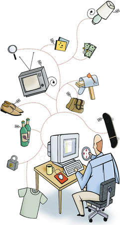 Online shopper seated at computer holding a compass