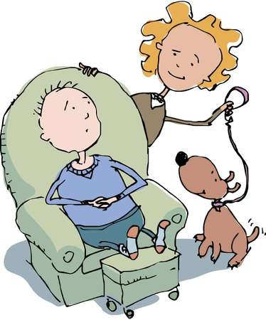 Woman offering tail-wagging dog on leash to her male partner resting in lounge chair in stocking feet