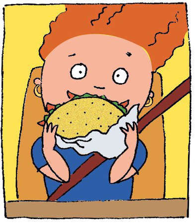 Kid eating taco in car