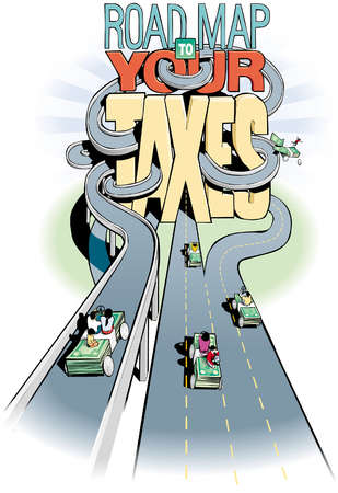 Series of complicated roads leading to and around the title 'Road Map to Your Taxes'