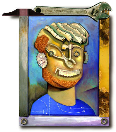 Framed head-and-shoulders painting of a person made out of hand tools