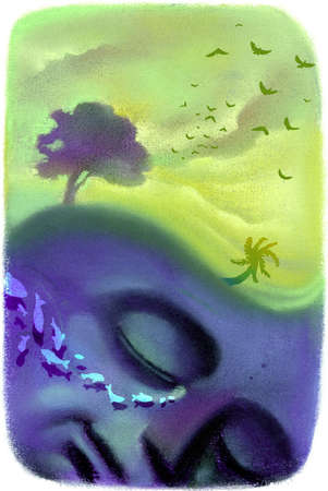 Sleeping face dreaming of nature images, birds, fish, trees and tropics