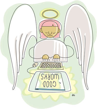 Angel with wings and a halo typing at a computer monitor which reads 'GOOD WORKS'