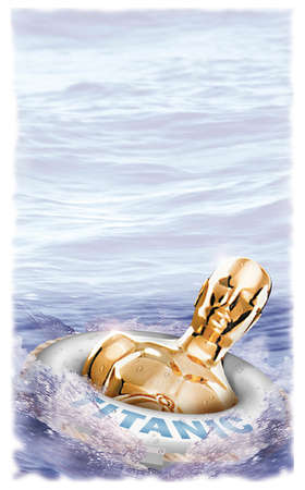 Oscar statue floating in life preserver ring labeled 'Titanic'