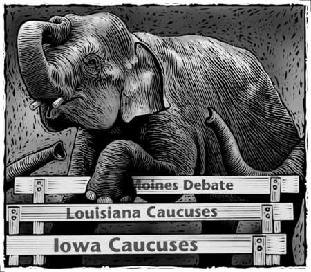 Elephant, representing GOP, stepping across hurdles labeled Des Moines Debate, Louisiana Caucuses, Iowa Caucuses