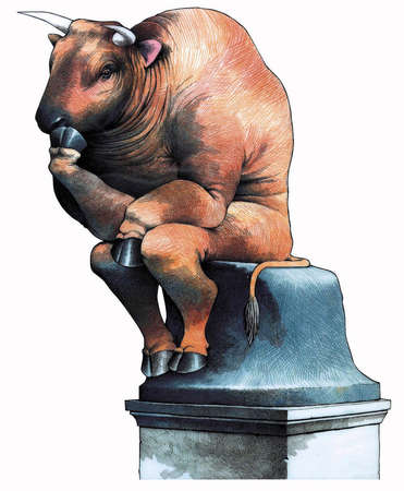 Wall Street bull in pose of Rodin's The Thinker