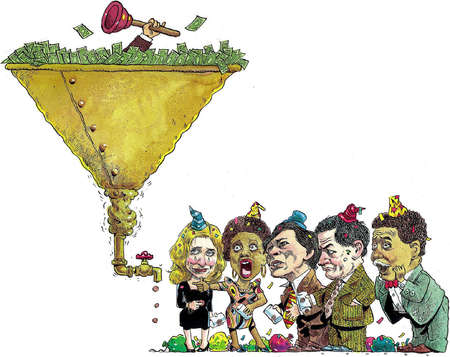 Money flowing into a clogged funnel with pennies trickling from the bottom disappoint a group of partiers