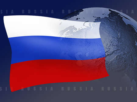Russian flag superimposed over globe where Russia is visible
