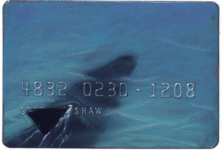 Transparent credit card with image of shark beneath it