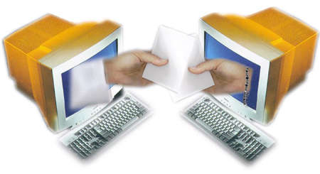 One computer handing a message to another computer
