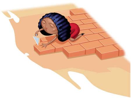 Woman laying a floor of bricks