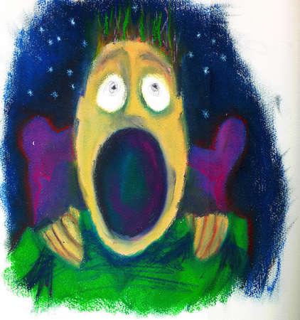 Terrorized boy awaking from a nightmare