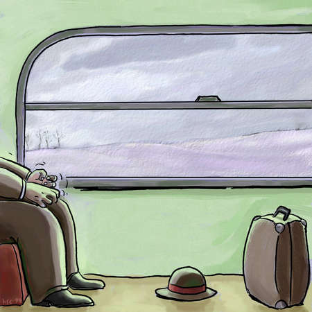 Train passenger's anxiety-clenched hands, train window in background, hat and suitcase in foreground