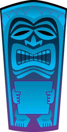 Tiki art styled, totem-like image of a human holding a document