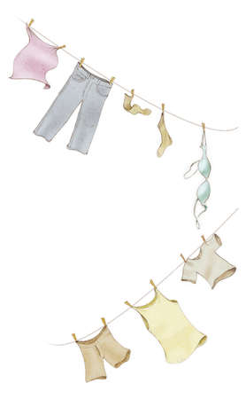 Clothes hanging from a clothesline
