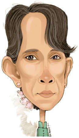 Caricature of Myanmar pro-democracy leader Aung San Suu Kyi
