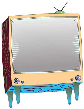 Illustration of old television set.