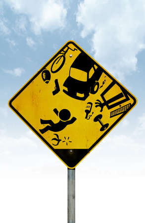 A yellow hazard road sign