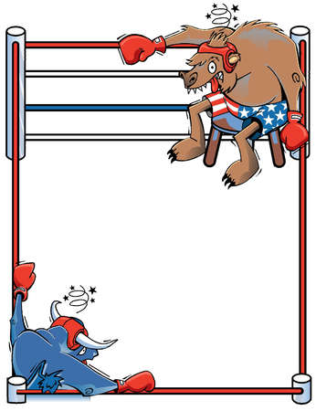 "Stock market ""bull"" and ""bear"" facing each other across a boxing ring"