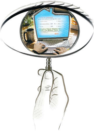 An eye-shaped magnifying glass searching for homes on the internet