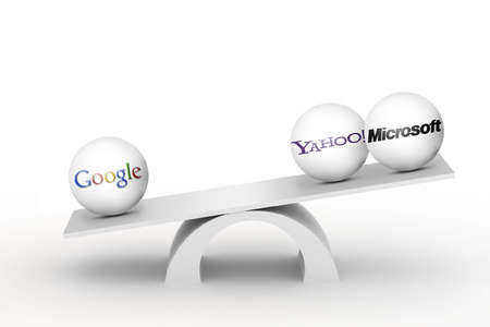 Teeter-totter with google on one end, outweighing Yahoo and Microsoft on the other end