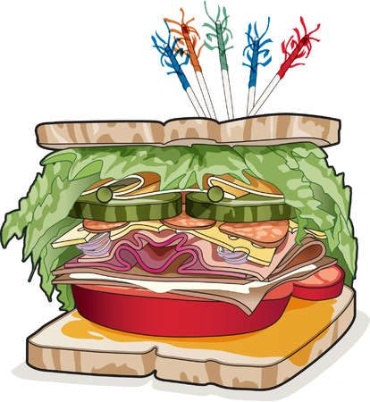 Big sandwich made with bread, lettuce, pickles, tomato, cheese,