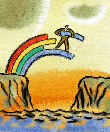 Businessman bridging gap by assembling rainbow