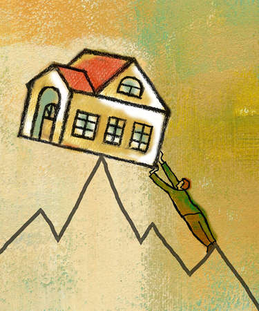 Businessman reaching for house on peak of line chart