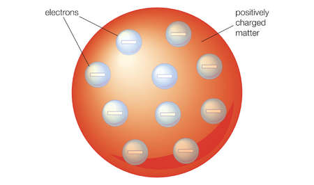 The Thomson model showed the atom as positively charged uniform matter, embedded with enough electrons to neutralize the charge