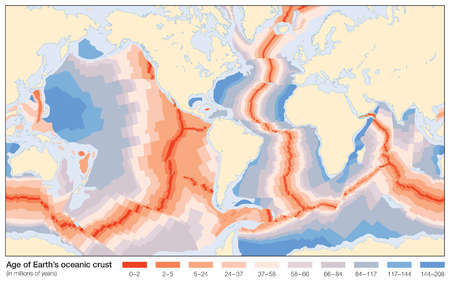 The age of Earth's oceanic crust, as measured in millions of years