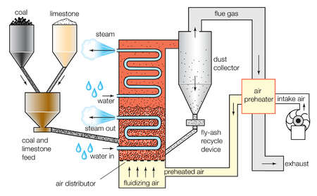 Schematic diagram of a fluidized-bed combustion boiler
