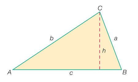 Standard lettering of a triangle: angles (A, B, C), sides (a, b, c), and one of the three heights (h, drawn from a vertices)