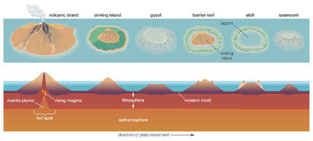 Diagram depicting the process of atoll formation Atolls are formed from the remnant parts of sinking volcanic islands